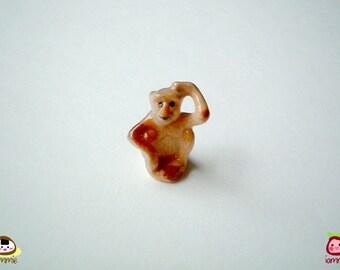 Miniature Monkey Figure, ceramic animal, ceramic figure, animal figure, animal figurine, grey, gray, brown, mini animal, tiny, small, little