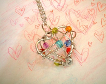 Colorful Bead LOVE Necklace, valentine, birthday, girl, women, bride, daily wear, ornament, charm, pendant, iammie