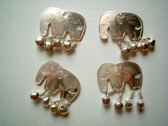 Silver Embossed Aluminium Elephant Embellishments, buttons, beads, bells, metal, small, shiny, animal, cute, elegant, Set of FOUR