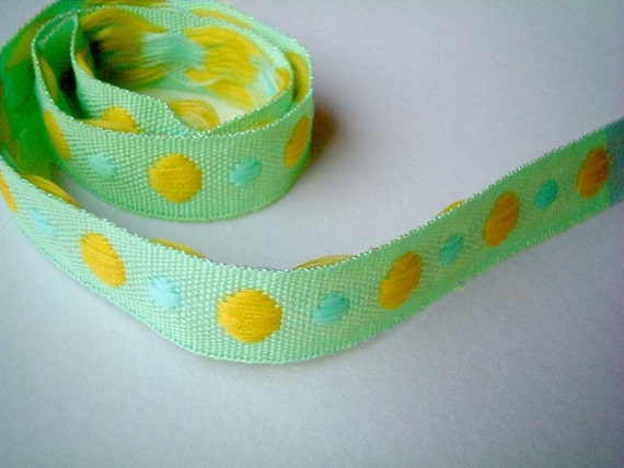 Green Trim, Glittering, fabric, ribbon, 1 YARD (90 cm), 0.5 inch wide, cards, decor, gift wrap, bow, poka dots, SALE, discount