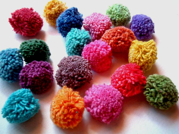 Cotton Party Pom Poms, yarn pom pom, pompom, birthday, rainbow, party, party decoration, button, bead, iammie, 20 poms, discounted, SALE