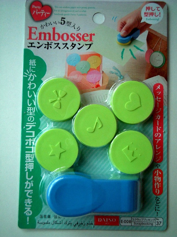 Paper Embosser from Japan - card making, party theme, star, heart, bow, crown, note, music, tag, green, light green, blue, discounted, SALE