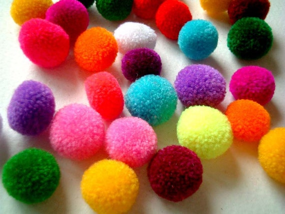 50 Assorted Mini Handmade Party Yarn Pom Poms, pompom, beads, kid, yarn ball, bead, button, colorful, children, tiny, discounted, SALE