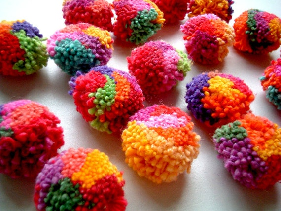 50 Mixed Colors Yarn Pom Poms - handmade, Mums, cotton, balls, beads, decor, bag, doll, key chain, mobile, clothes, pastel, flower, button