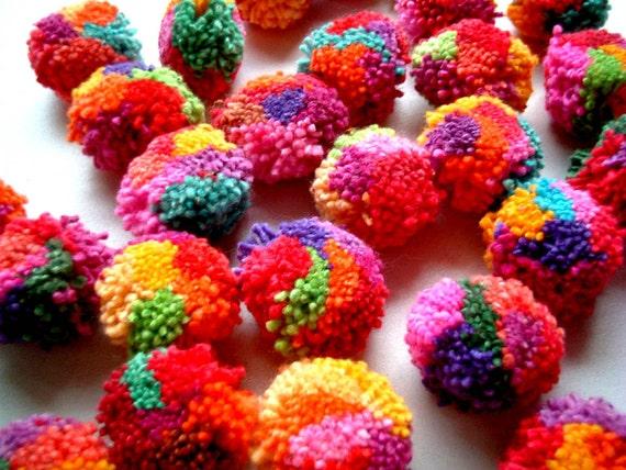 Mix Party Pom Poms, pompom, yarn pom pom, yarn pompom, cotton, party decoration, wedding decoration, bead, eco, 100 poms, SALE, discount