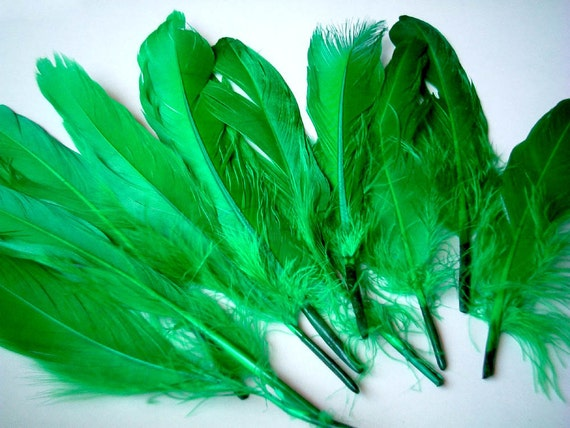 Fake feather, Green Feathers, artificial feather, faux feather, fake, faux, craft supplies, bird, chicken, duck, bright color, leaf green