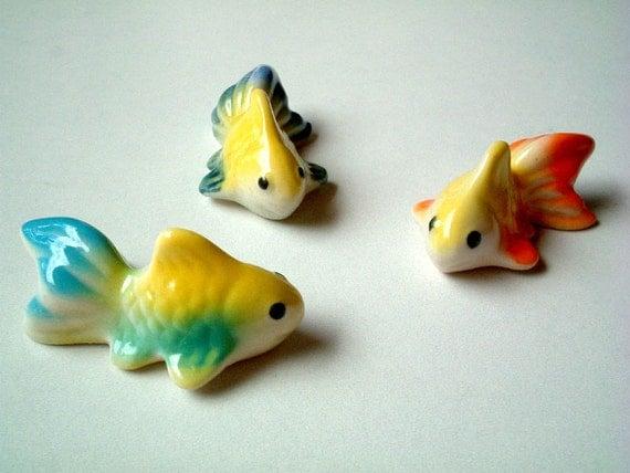Miniature goldfish figurine, Yellow Orange Goldfish figure, ceramic animal, ceramic fish, animal, mini animal, miniature fish, tiny fish