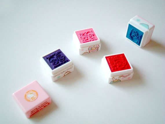 Sanrio: Little Twin Stars Self-ink Stamps, rubber stamps, ink pad, FOUR patterns in one, pink, red, blue, purple, scrapbook, card decoration