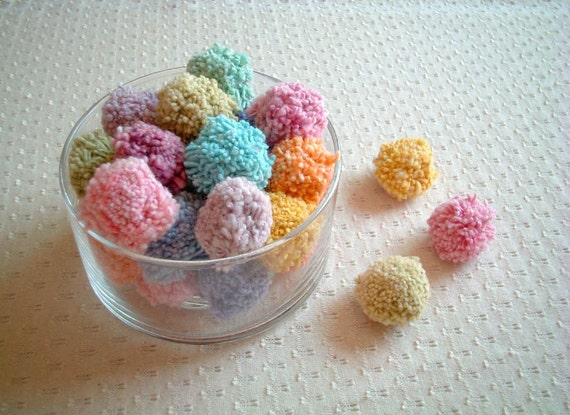 Party Yarn Pom Poms, cotton pom poms, party decor, party decoration, decoration, wedding, toss, fancy, rainbow, 20 poms, discounted, SALE