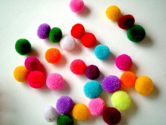 Mini Handmade Party Yarn Pom Poms, pompom, colorful, kid, children, small, yarn ball, bead, colorful, tiny, 20 pom poms, celebration