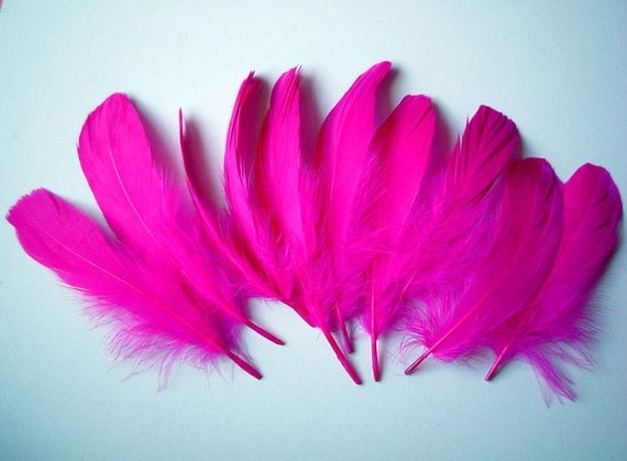 Very Hot Pink Fake Feathers, artificial feather, faux feather, fake, faux, craft supplies, bird, chicken, duck, bright color, fancy, party