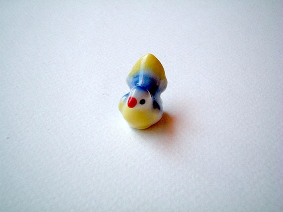 Little Bright Blue and Yellow Ceramic Bird, mini animal, ceramic animal, tiny animal, small animal, little animal, decoration, small, little