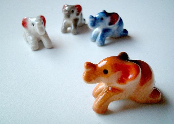 Brown Ceramic Elephant Figure, figurine, miniature animal, mini animal, decoration, tiny animal, small animal, tiny, mini, small, little