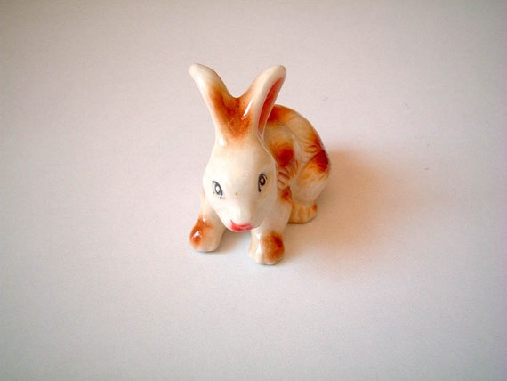 Mr Rabbit: Cute White and Brown Vintage Style Ceramic Rabbit, ceramic bunny, hare, figure, figurine, spring, totem, easter
