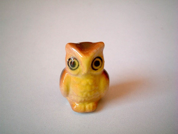 Miniature Owl Figure, Brown Yellow with Green Wings Ceramic Owl, tiny animal, mini animal, miniature ceramic, tiny, little owl, decoration