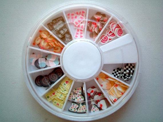 Set of Cute Miniature Polymer Clay Decoration, sweets, candy, cake, cupcake, chocolate, jam roll, chocolate roll, strawberries, kawaii