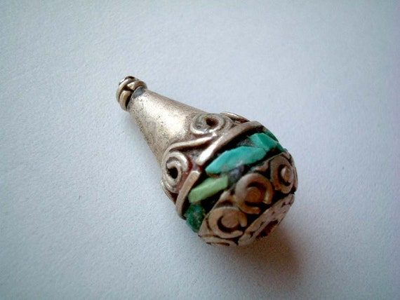 Nepal Bead, vase, turquoise, silver, metallic, metal, blue, tribe, tribal, rare, cone, bottle, mini, miniature, drop, iammie, discount, SALE