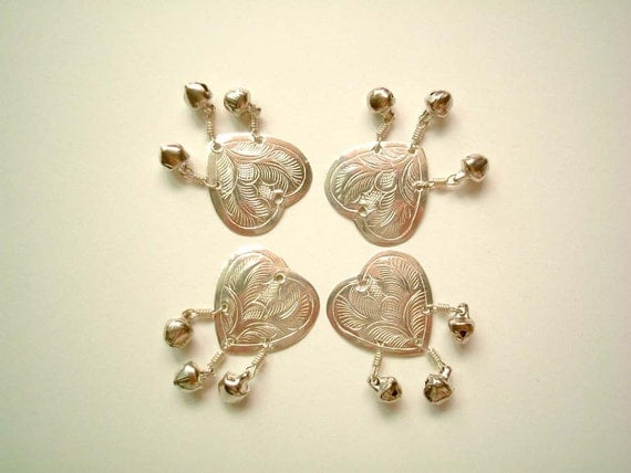 Set of FOUR Silver Embossed Aluminium Heart with small bells, buttons, beads, metal, small, cute, elegant, pretty, rose, flower, petal