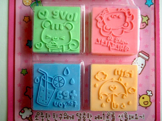 Cute Rubber Stamps with an Ink Pad, Kawaii rubber stamps, cartoon, animal, card decoration, scrapbook, children, kid, lion, squirrel