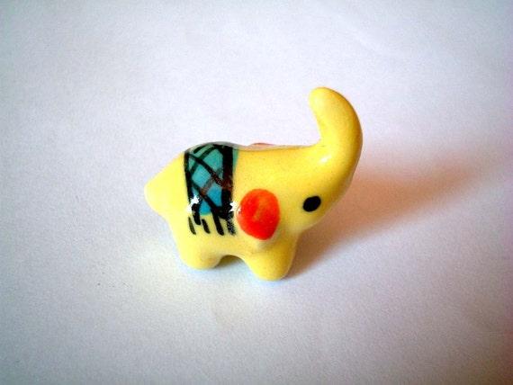 Little Yellow Circus Ceramic Elephant, mini animal, ceramic animal, tiny animal, small animal, little animal, decoration, miniature animal
