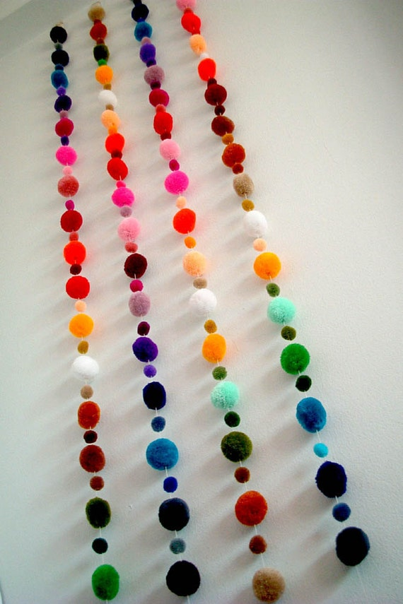 Pom Pom Garland, wholesale, yarn pom pom, pompom, yarn ball, custom, mobile, nursery, colorful, carnival, party, 3 yard, 15 feet, 10 strands