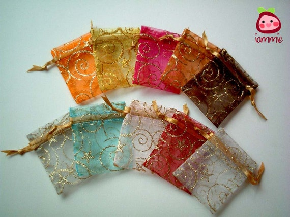 Organza Bags with Golden Pattern, colorful, fabric bag, favor bag, present bag, gift bag, tiny, cute, colorful, assorted, birthday, 10 bags