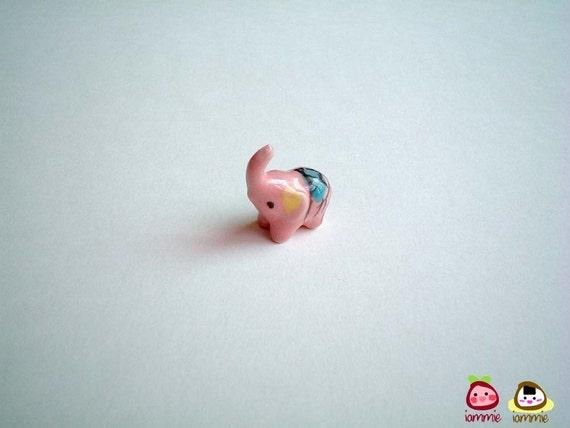 Little Pink Elephant Figure, ceramic elephant, miniature ceramic animal, miniature elephant, elephant figure, iammie, miniature, girl