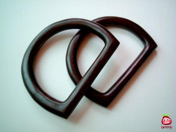 Wooden Bag Handles, handle, bag strap, bag frame, holder, dark brown, carry, tote, half circle, 1 pair