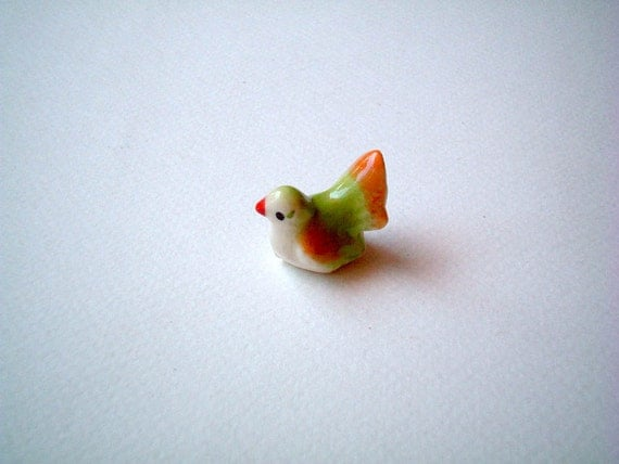 Miniature Ceramic Bird Figure, Orange and Green, mini, ceramic animal, tiny, small, little animal, decoration, miniature animal, iammie