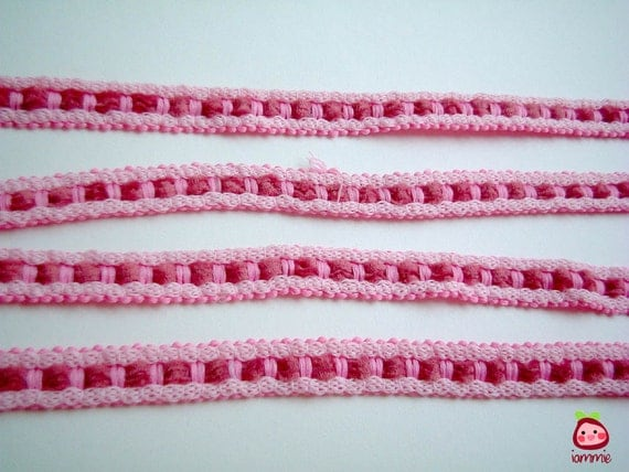Pink and Crimson Trim, fabric trim, ribbon, lace, cotton, girl, card decoration, party, wedding, gift wrap, 2 yard, 1/2 inch wide