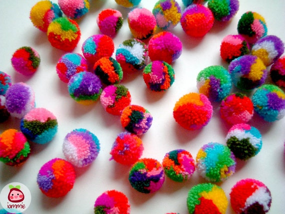 Mini Mix Yarn Pom Poms, miniature, party pom, pompom, colorful, kid, children, yarn ball, bead, colorful, tiny, 50 pom poms, tiny, small