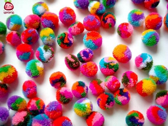 Mini Yarn Pom Poms, miniature, party pom, pompom, colorful, kid, children, multi color, bead, iammie, tiny, 100 pom poms, tiny, handmade