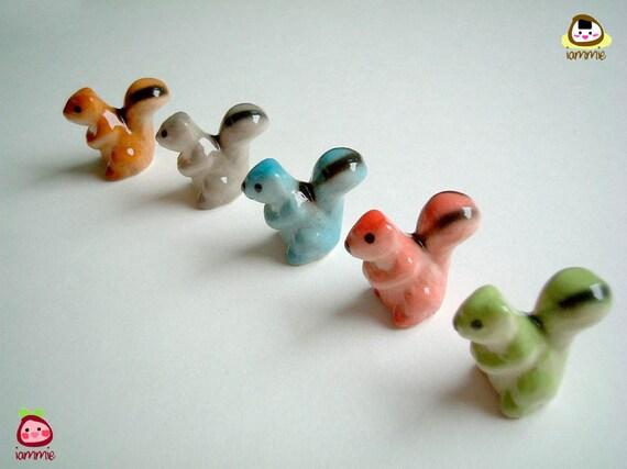 Ceramic Squirrel figurine, light green, miniature squirrel, miniature animal, decor, little, small, tiny, ceramic animal, figurine, iammie