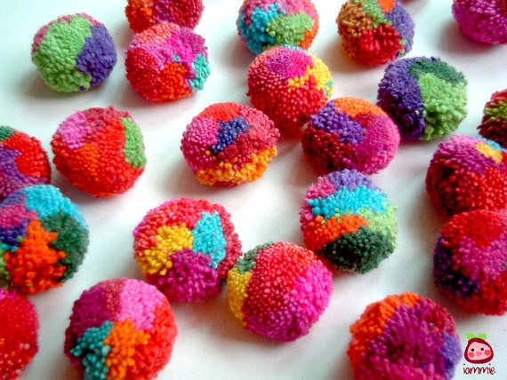 Multi Color Party Yarn Pom Poms, cotton, pompom, yarn ball, party decoration, party, flower, yarn button, iammie, 20 poms, discounted, SALE