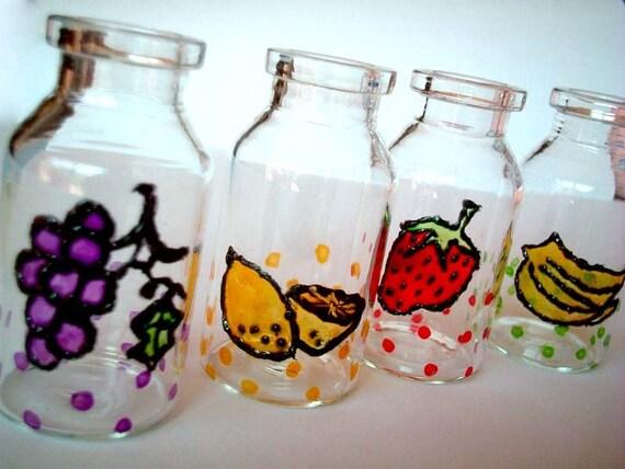 Mini Hand-Painted Jar, Set of FOUR, fruits, poka dots, Gift Box : strawberry, banana, lemon, grapes, red, green, purple, decoration, iammie
