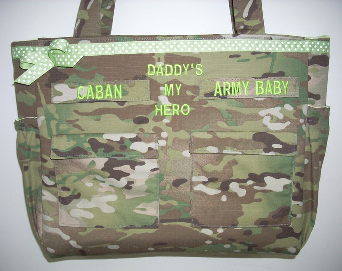 Gifts for babies and kids diaper bags personalized customized Army Multicam Navy Air Force Marines your choice of colors, fabrics, embroider