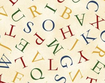 Children's Hungry Animal Alphabet Cream/Multi Alphabet Cotton Fabric