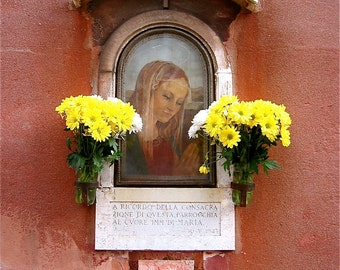 Our Blessed Mother... Italian Fresco and Religious Shrine- Original Travel Photography