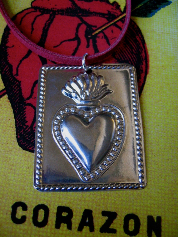 Silver Tin Milagro - SACRED HEART Necklace-   Heal your Soul