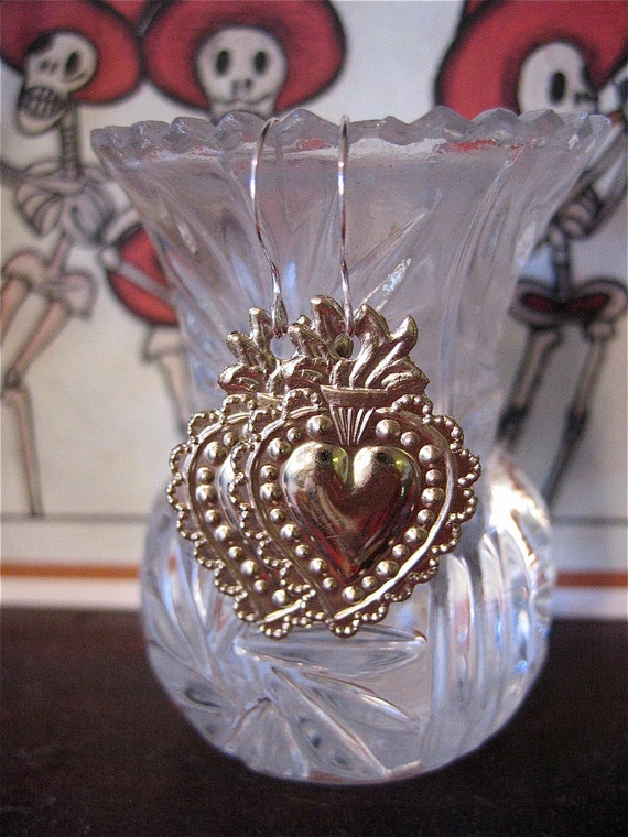 Silver SACRED HEART Intricate Mini Milagro Earrings- Perfect gift for the one you love