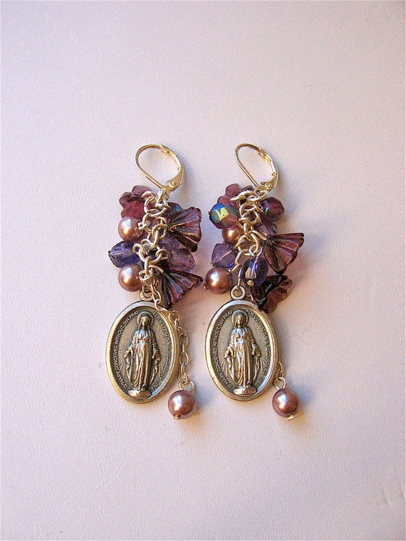 Protective VIRGIN MARY Milagros OOAK Earrings-   Healing your soul each and everyday