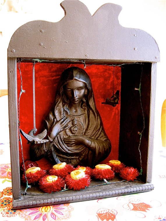 VINTAGE OOAK Virgin Mary Shadowbox and Lighted Shrine and Shadowbox-  STUNNING