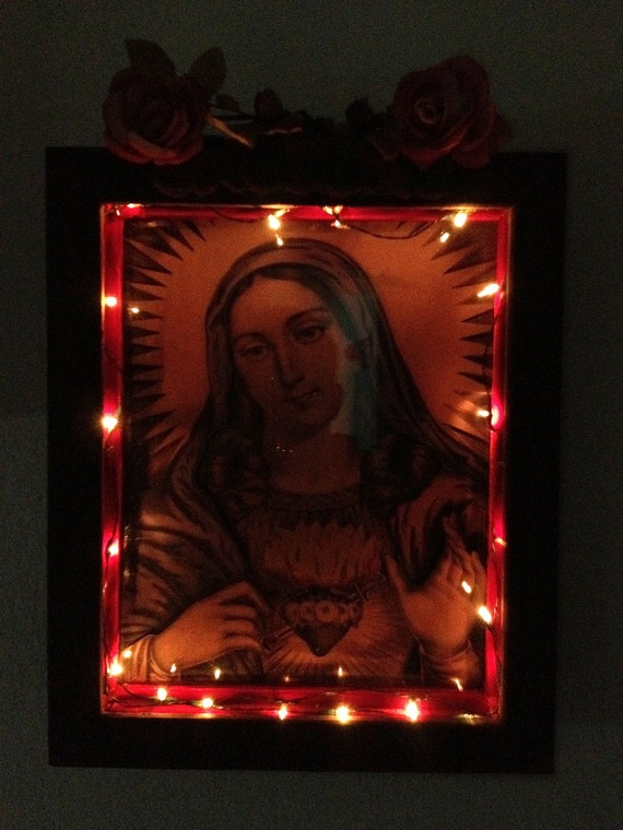 """Large Lighted SACRED HEART of MARY 3- D Shadow Box and Shrine- Reproduction of Antique Currier and Ives lithograph- 12"""" x 9.5"""""""