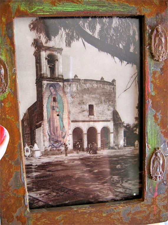 Vintage Hugo Brehme Photograph at the Basilica de GUADALUPE in Mexico with Antiqued Frame- A peek into history