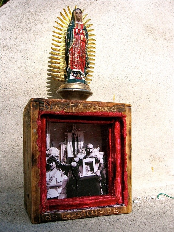 CELEBRATIONS of GUADALUPE- 3-D Shadowbox Shrine- Ooak and Perfect for any Altar