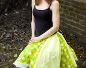 Yellow y Green Lemon Lime Soda Pop springtime Summer skirt Handmade