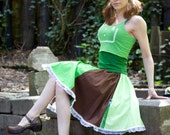 Green y Brown Skirt Vintage inspired Full circle Mint Mocha skirt with lace y bows