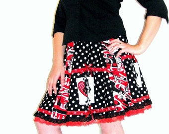 Black y Red cartoon Beaver Vintage inspired skirt w/ lots of Lace Handamde
