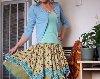Vintage inspired lace and ribbon Sweet Lolita style corduroy Full circle skirt