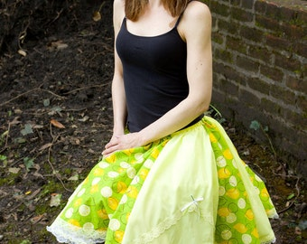 Yellow y Green Lemon Lime Soda Pop springtime Summer skirt Handmade